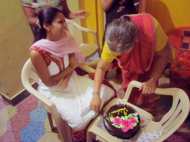 Traditional birthday celebration in Maharashtra, India.