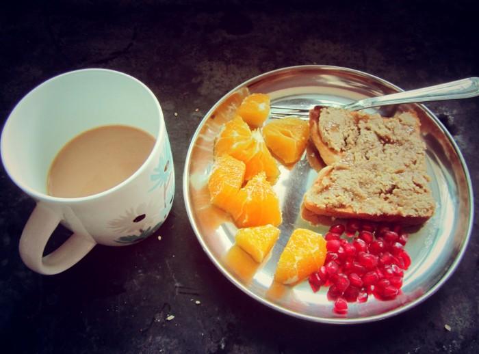 Tahini toast with honey for breakfast.