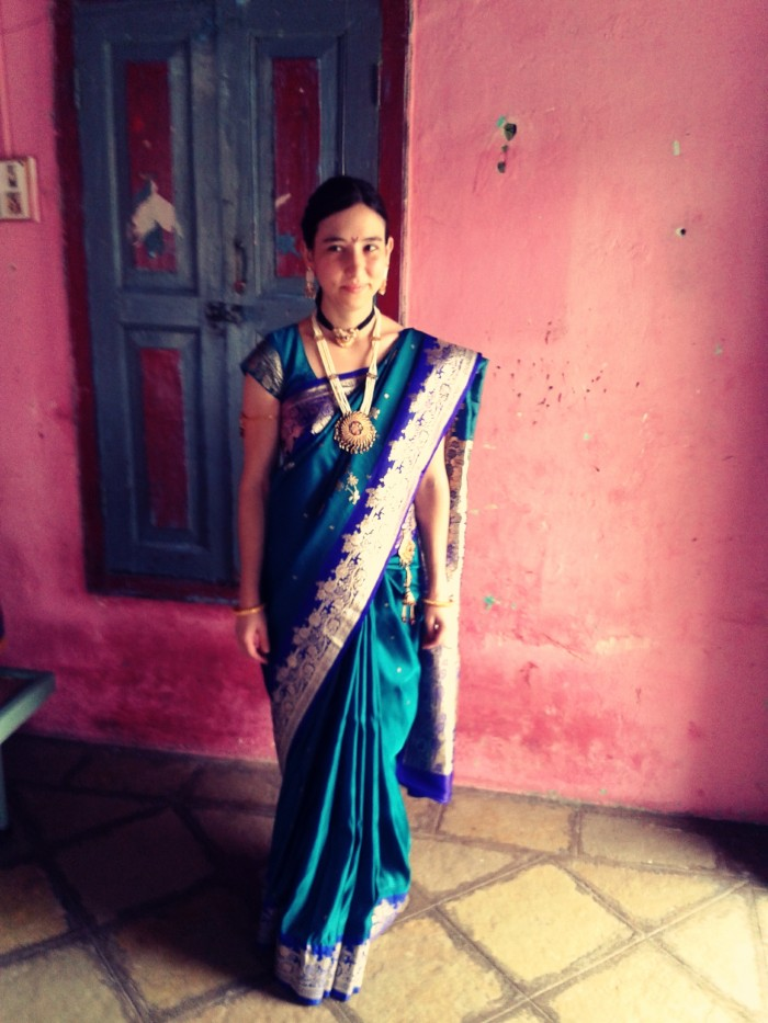 Me in a beautiful sari that belonged to a friend's mom.