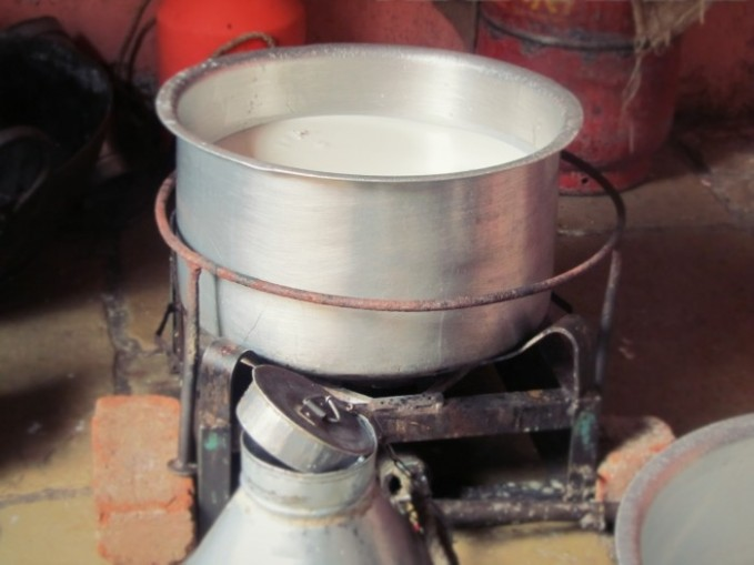 A container for boiling freshly delivered milk in India.