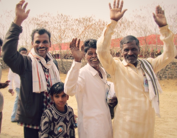 Cheerful men in India