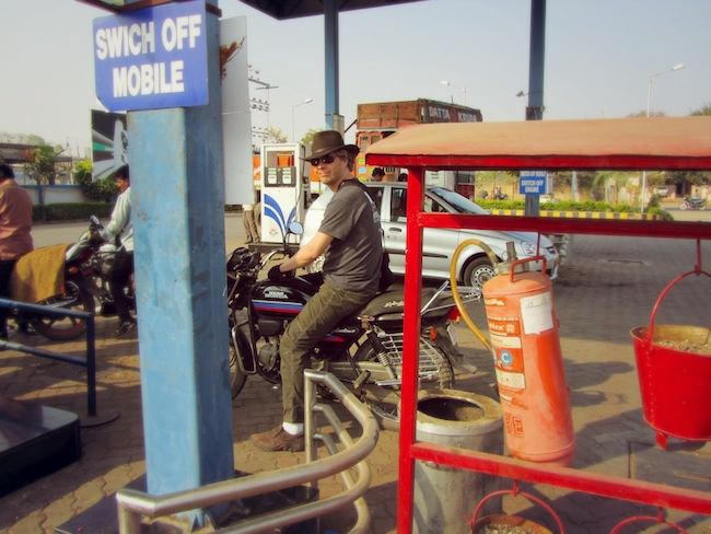 Swich off mobile at the gas station in India.