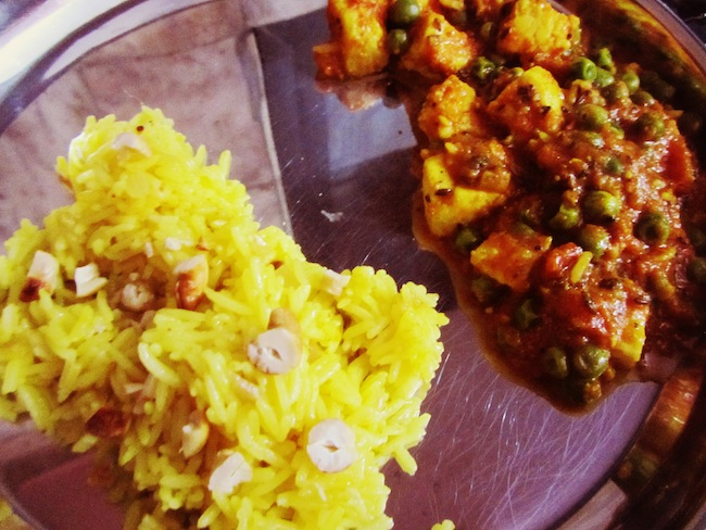 mattar paneer and rice