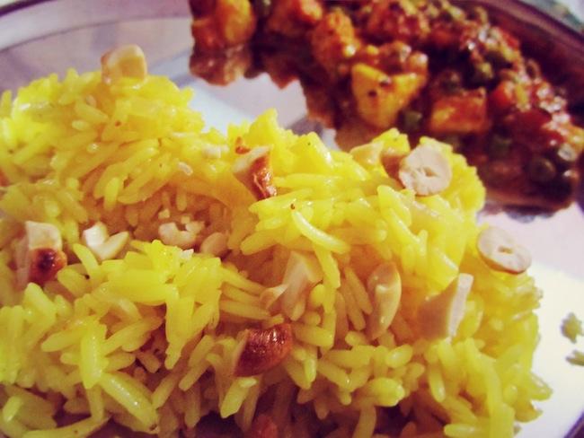 saffron rice mattar paneer