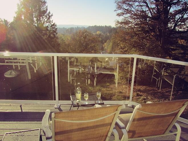 deck sunset wine