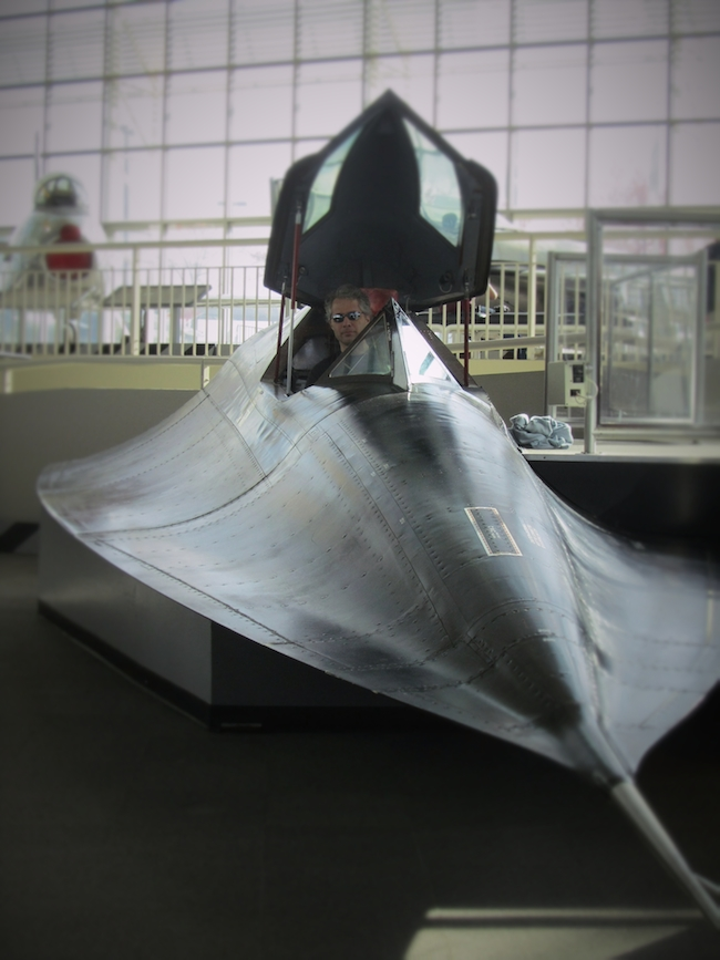 Josh in the Lockheed SR-71, the world's fastest jet.