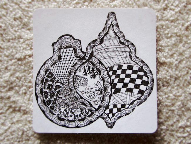 My 3rd ever Zentangle with a holiday theme. (Finished it the next day.)