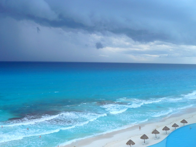 A storm approaching at the beach in Cancun, Mexico.