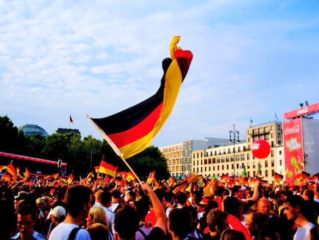 The German flag twists during a Eurocup game in Berlin.