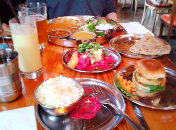 Indian street food at the Bollywood Theater restaurant, Portland, OR