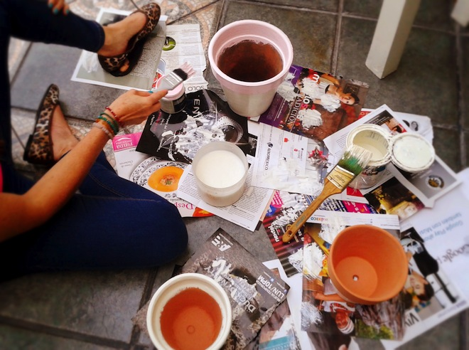 Fresh paint on diy pots out in the terrace in Mexico City.