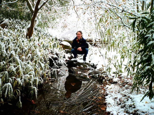 Josh's reflection at Duke Gardens, Durham, NC