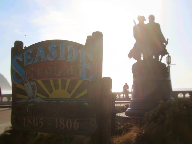 Lewis and Clark statue in Seaside, Oregon