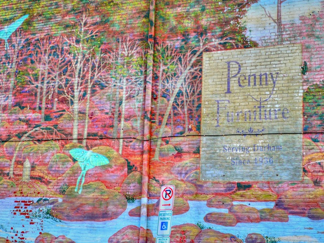 Art on a brick wall in Durham, NC