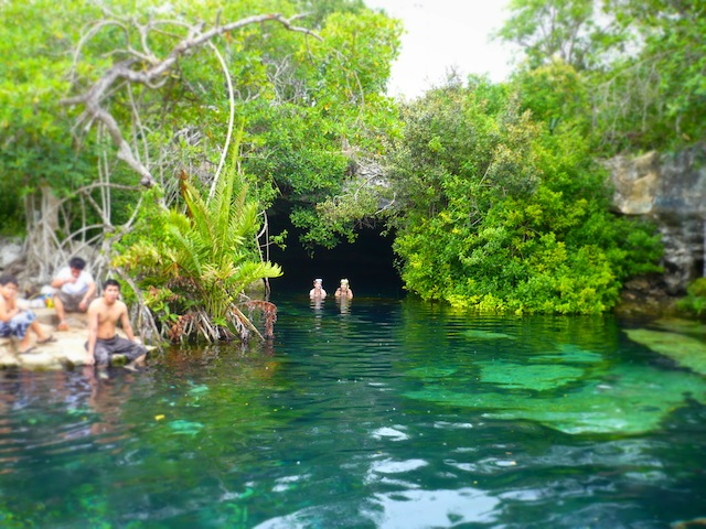 The fresh underground waters in a cenote in Cancun.