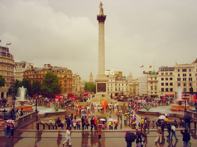 Trafalgar Square in the rain