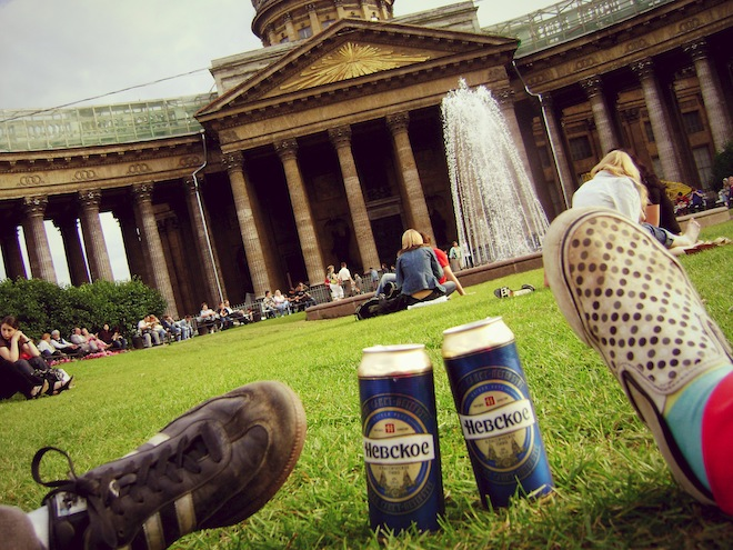 Two Russian beers and two dirty shoes.