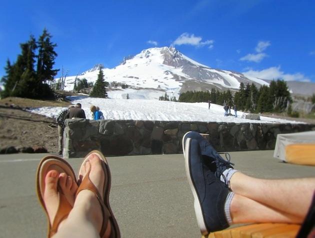 Our feet in Mt. Hood, Oregon.