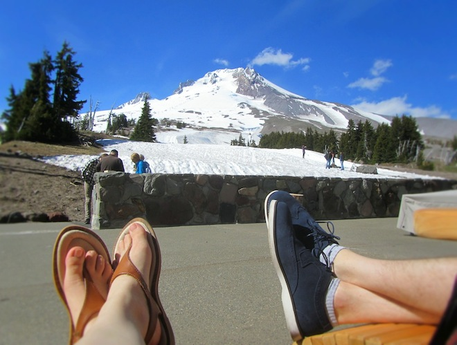 Our feet in Mt. Hood, Oregon.