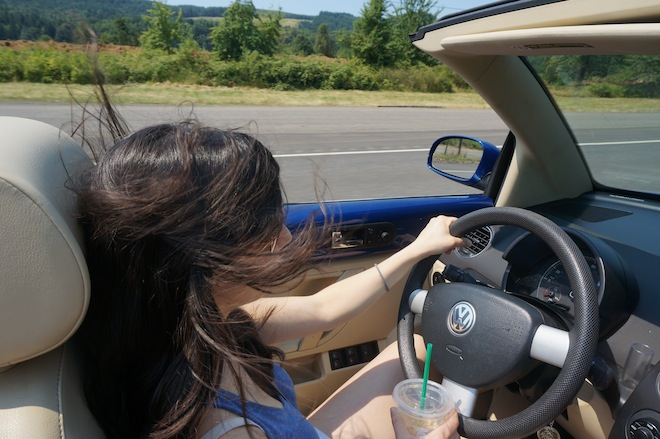 We borrowed D's convertible VW bug to go get the part.
