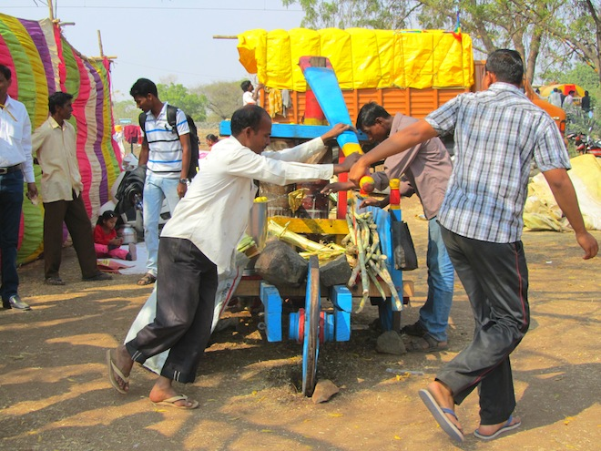 A sugarcane juice machine in India.