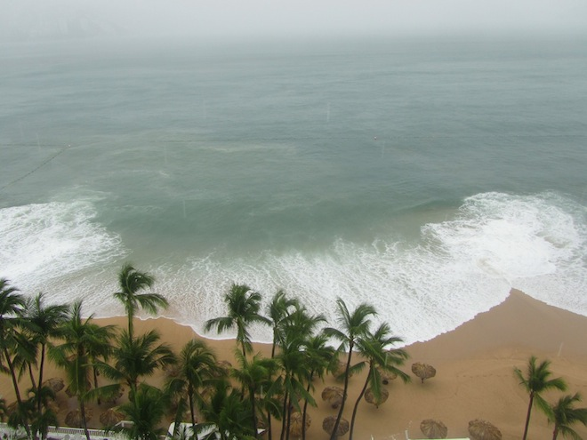 The waves breaking in Acapulco.
