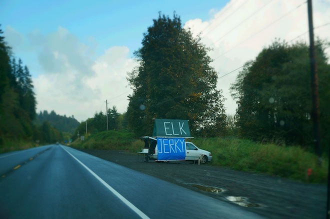 The first time I saw Elk Jerky van sellers in Oregon I was surprised, a year later, it's normal to me.