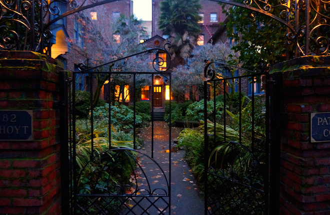 portland night courtyard