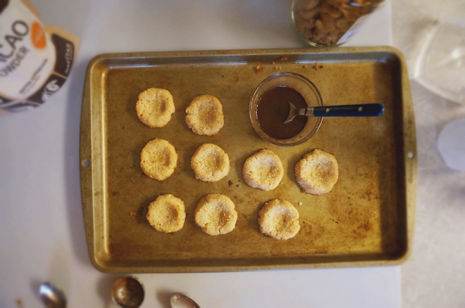 coconut cacao thumbprint cookies
